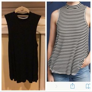 Pure + Good BLACK Anthropologie Mock Neck Tank S